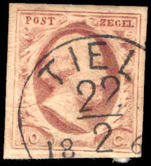 Netherlands 1852-63 10c brownish-red unplated, 4 margins fine used.