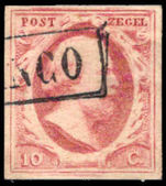 Netherlands 1852-63 10c pale rose-red unplated, 4 margins fine used.