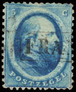 Netherlands 1864 5c blue fine used.