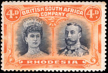 Rhodesia 1910-13 4d black and orange lightly mounted mint.
