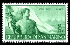 San Marino 1948 Workers 8l lightly mounted mint.