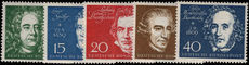 West Germany 1959 Beethoven Hall stamps from souvenir sheet unmounted mint.