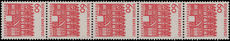 West Germany 1964 60pf coil strip of 5 unmounted mint.