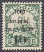 Togo 1914 Anglo-French Occupation 10 on 5pf type II fine mint lightly hinged.