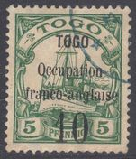 Togo 1914 Anglo-French Occupation 10 on 5pf type III fine used.
