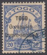 Togo 1914 Anglo-French Occupation 20pf ultramarine fine used.