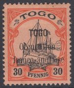 Togo 1914 Anglo-French Occupation 30pf expertized fine lightly mounted mint.