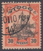 Togo 1914 Anglo-French Occupation 30pf fine used.