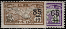 St Pierre et Miquelon 1924-24 Glaucous Gull provisionals lightly mounted mint.