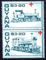 Guyana 1988 Red Cross Trains $3.20 pair unmounted mint.