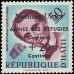 Haiti 1959 Refugees 50c+20c showing extra Centimes for date unmounted mint.
