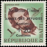 Haiti 1959 Refugees 1g+20c showing extra Centimes for date unmounted mint.
