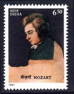 India 1991 Mozart unmounted mint.