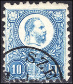 Hungary 1871-73 10k blue engraved very fine used.