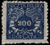 Poland 1920 200f Postage Due thin paper lightly mounted mint.