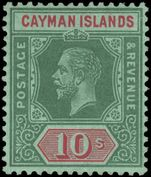 Cayman Islands 1912-20 10sh deep-green and red on  blue-green olive back[