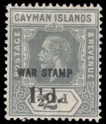 Cayman Islands 1919-20 1½d on 2d grey War Tax fine lightly hinged mint.