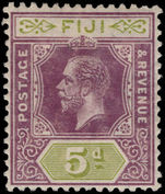 Fiji 1912-23 5d dull purple and olive-green crown CA lightly mounted mint.
