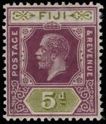 Fiji 1922-27 5d dull purple and sage green Script CA lightly mounted mint.