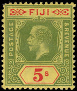 Fiji 1922-27 5s green and ren on pale yellow Script CA lightly mounted mint.