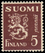 Finland 1930-40 5p Rampant Lion unmounted mint.