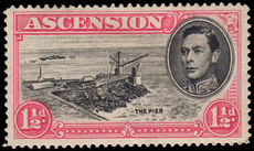 Ascension 1938-53 1½d black & rose-carmine perf 14 with Davit flaw mounted mint with hinge remainders.
