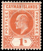 Cayman Islands 1902-03 1s orange Crown CA unmounted mint.