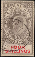 Gibraltar 1906-11 4s black and carmine fine used tied to small piece.