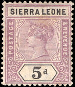 Sierra Leone 1896-97 5d dull mauve and black lightly mounted mint.