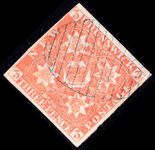 New Brunswick 1851-60 2d dull red 4 clear margins very fine used.