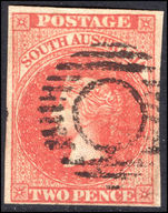 South Australia 1856-58 2d red four margins fine used.