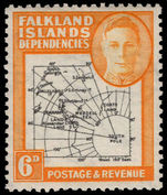 Falkland Island Dependencies 1948 Thick Map 6d gap in 80th Parallel lightly mounted mint.