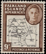 Falkland Island Dependencies 1948 Thick Map 9d gap in 80th Parallel lightly mounted mint.