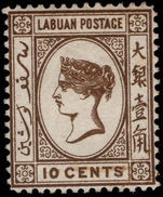 Labuan 1885-86 10c brown litho no watermark unused no gum.