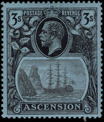Ascension 1924-33 3s grey-black and black on blue lightly mounted mint.