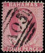 Bahamas 1863-77 4d dull rose Crown CC perf 14 fine used.