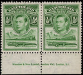 Basutoland 1938  ½d green marginal inscription pair lightly mounted mint.