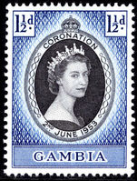 Gambia 1953 Coronation lightly mounted mint.