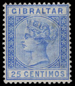 Gibraltar 1889-96 25c ultramarine lightly mounted mint.