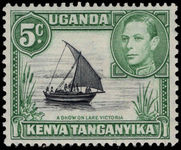 Kenya Uganda & Tanganyika 1938-54 5c black and green lightly mounted mint.