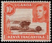 Kenya Uganda & Tanganyika 1938-54 10c red-brown and orange perf 13x11¾ lightly mounted mint.