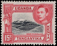 Kenya Uganda & Tanganyika 1938-54 15c black and rose-red 13¾x13¼ lightly mounted mint.