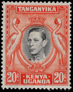 Kenya Uganda & Tanganyika 1938-54 20c black and orange 13¼x13¾ lightly mounted mint.