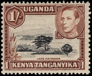 Kenya Uganda & Tanganyika 1938-54 1s black and brown perf 13x11¾ lightly mounted mint.
