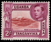 Kenya Uganda & Tanganyika 1938-54 2s lake-brown and brown-purple perf 13¾x13¼ lightly mounted mint.