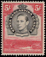 Kenya Uganda & Tanganyika 1938-54 5s black and carmine perf 14 lightly mounted mint.