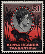 Kenya Uganda & Tanganyika 1938-54 £1 perf 14 lightly mounted mint.