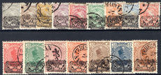 Iran 1902 Provisoire set on genuine original stamps (1kr is a forgery!).<a href=