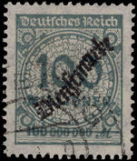 Third Reich 1923 100M grey official fine used.