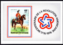 Central African Republic 1976 American Revolution souvenir sheet imperf unmounted mint.